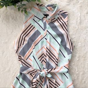 Ann Taylor peach mint green button down midi dress